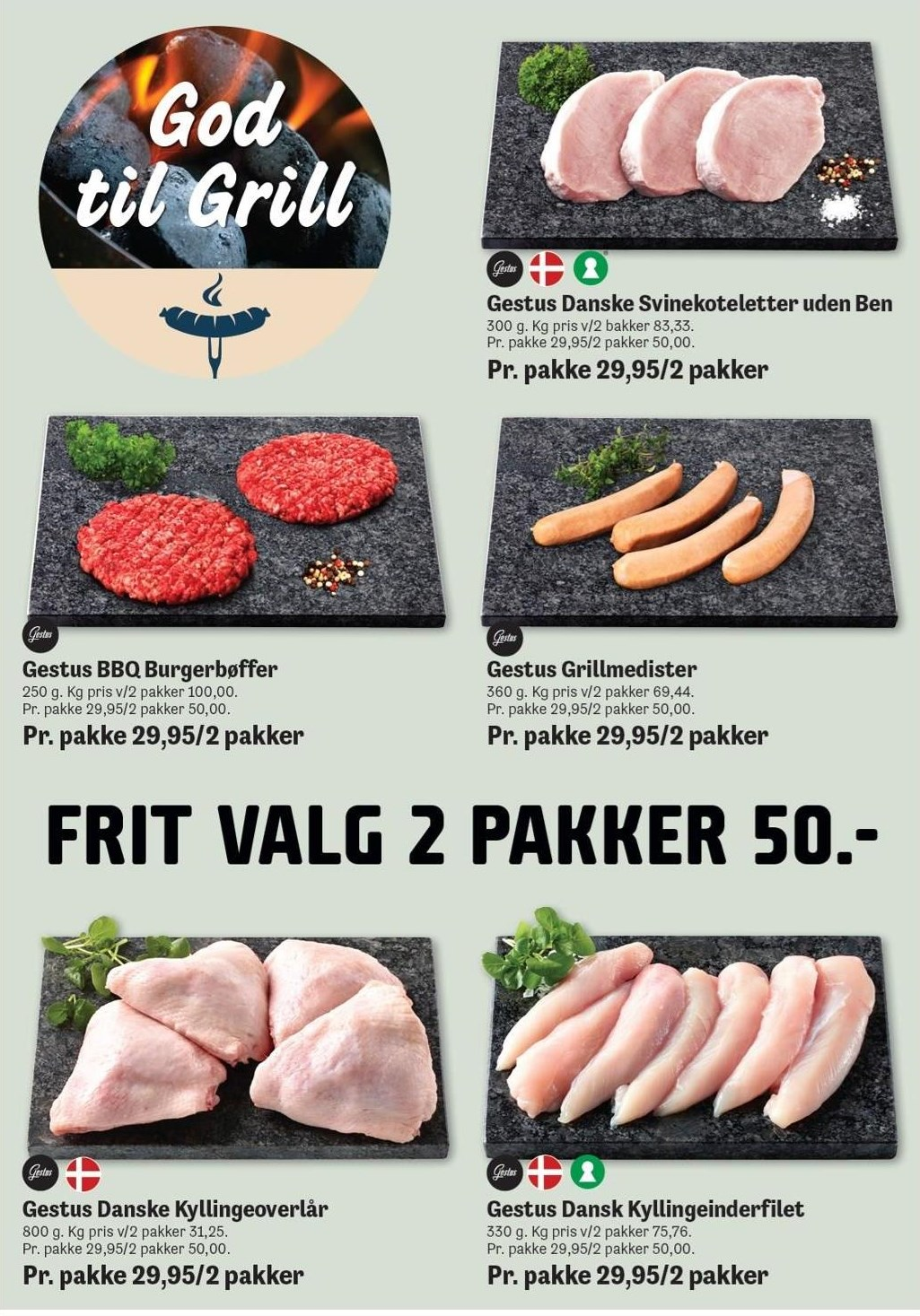 Gestus Burgerbøffer, grillmedister, svinekoteletter, kyllingeoverlår eller kyllingeinderfilet - 2 pakker