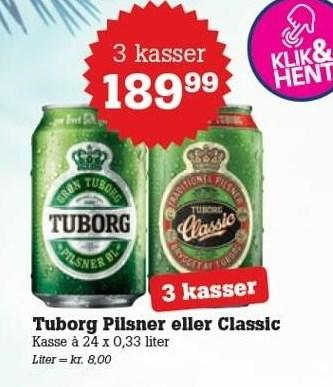 Tuborg Pilsner eller Classic - 3 kasser