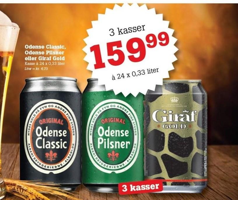 Odense Classic, Odense Pilsner eller Giraf Gold - 3 Kasser