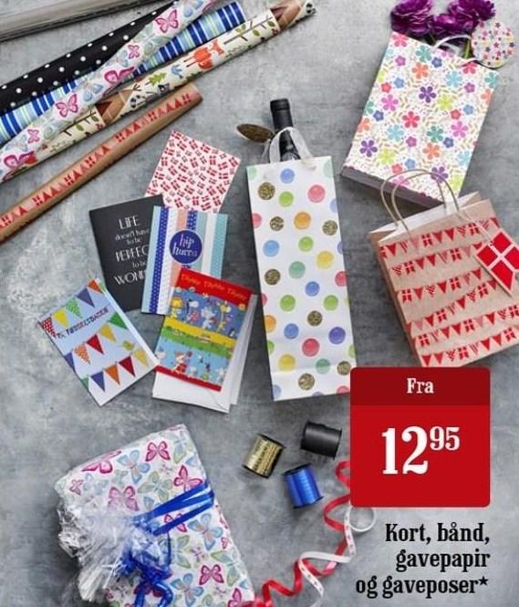 Kort, bånd, gavepapir og gaveposer