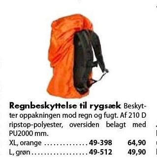 Regnbeskyttelse til rygsæk