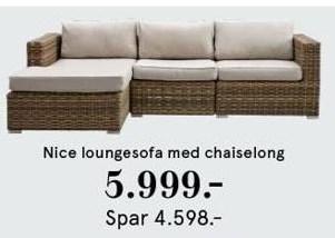 Nice loungesofa med chaiselong