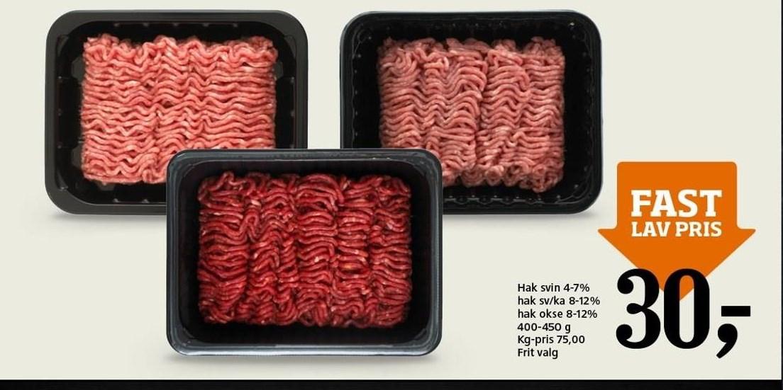 Hakket oksekød, svine- og kalvekød el. svinekød