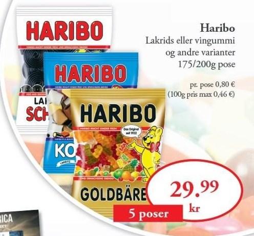 Haribo Lakrids eller Vingummi  5 poser